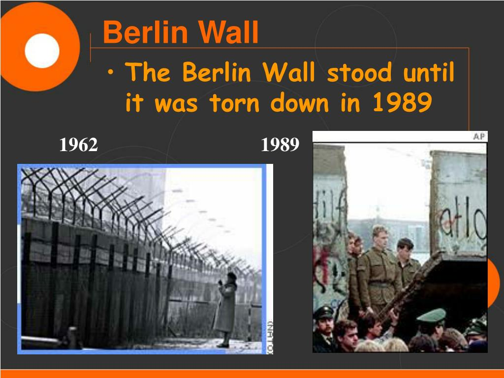 The Berlin Wall stood until it was torn down in 1989