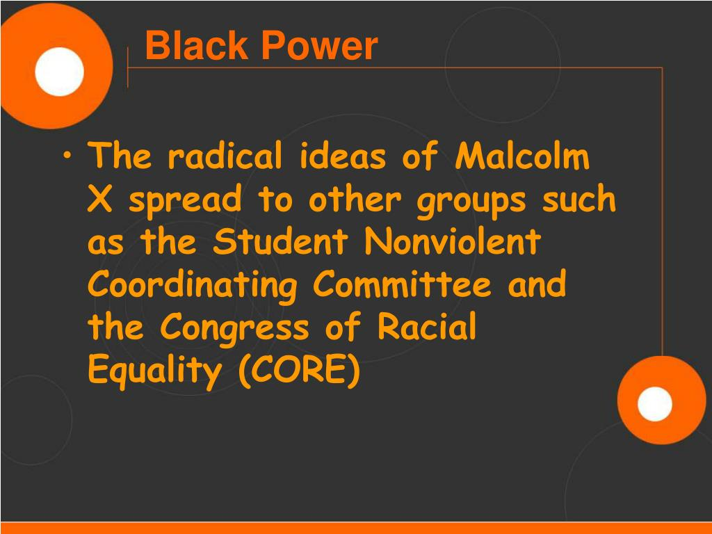 The radical ideas of Malcolm X spread to other groups such as the Student Nonviolent Coordinating Committee and the Congress of Racial Equality (CORE)