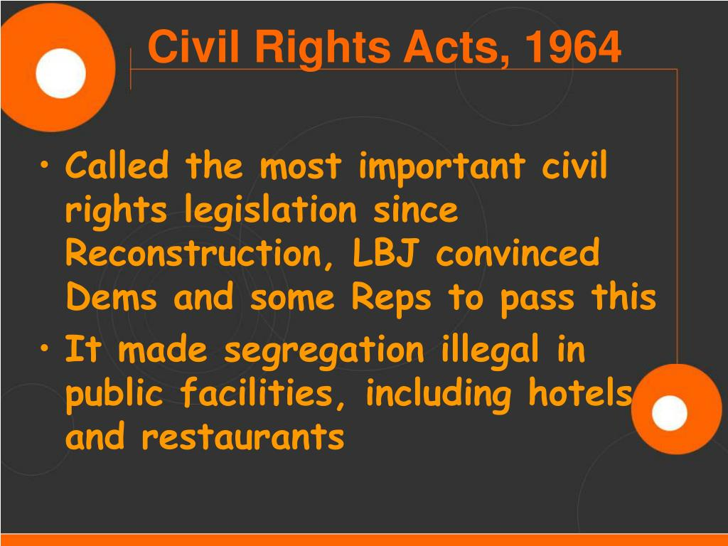 Called the most important civil rights legislation since Reconstruction, LBJ convinced Dems and some Reps to pass this