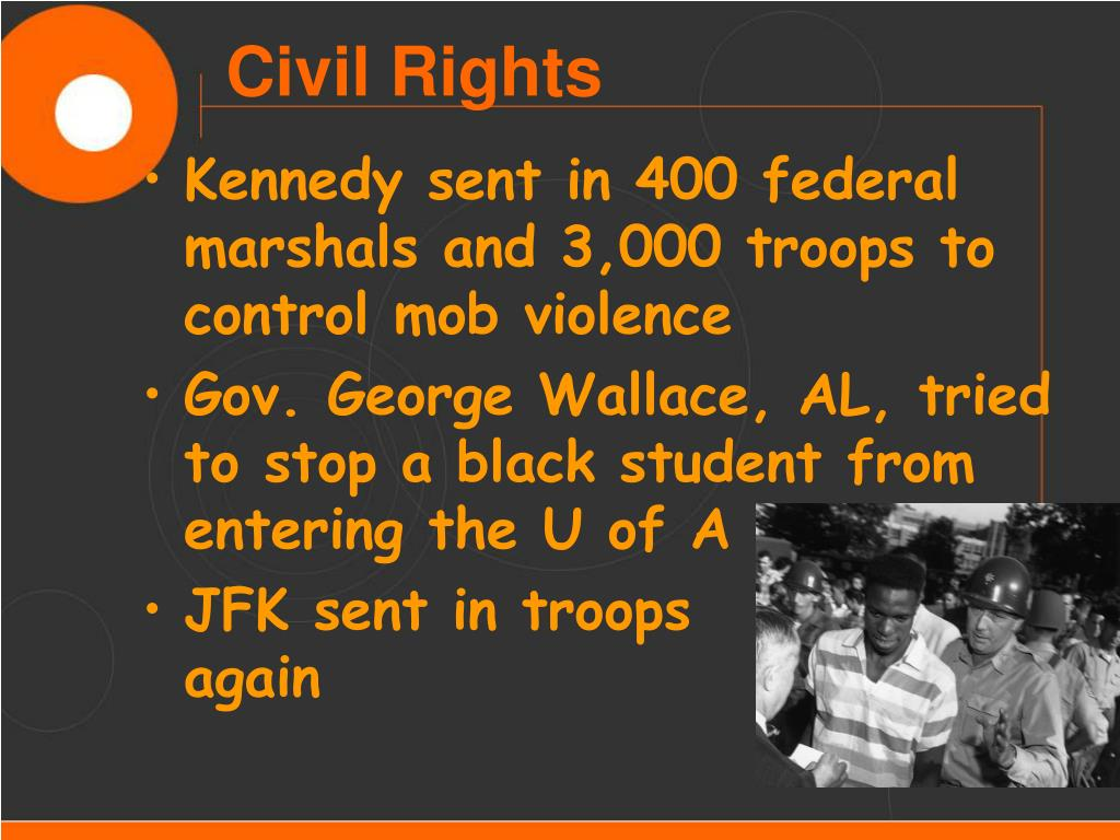 Kennedy sent in 400 federal marshals and 3,000 troops to control mob violence