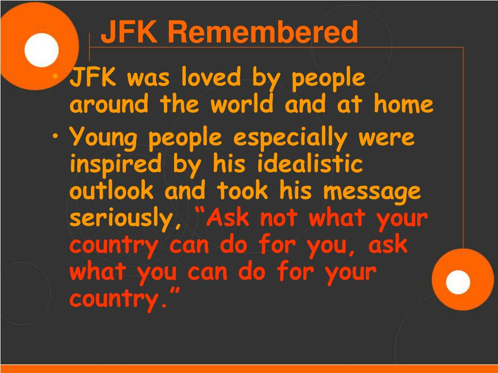 JFK was loved by people around the world and at home