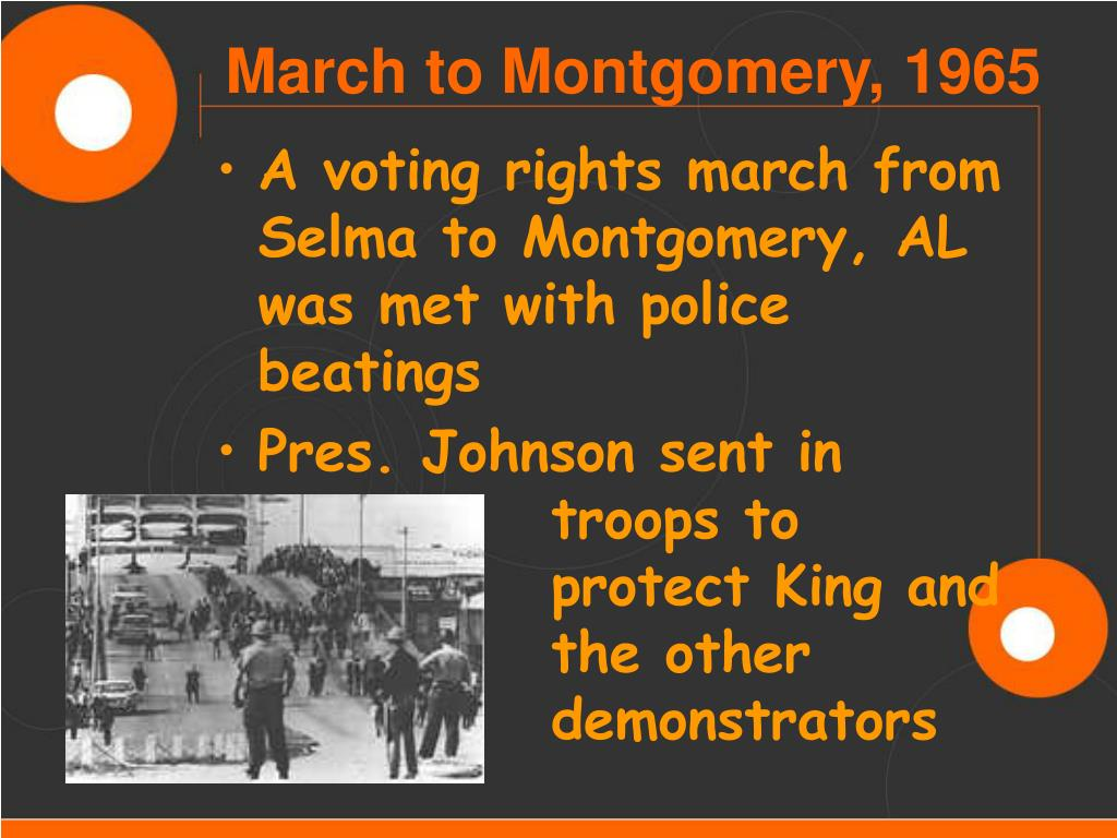 A voting rights march from Selma to Montgomery, AL was met with police beatings