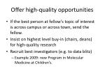 offer high quality opportunities