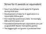 strive for k awards or equivalent