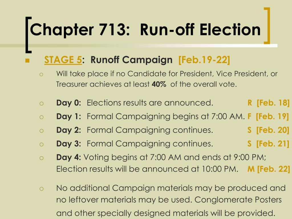 Chapter 713:  Run-off Election