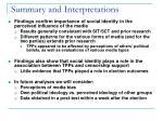 summary and interpretations
