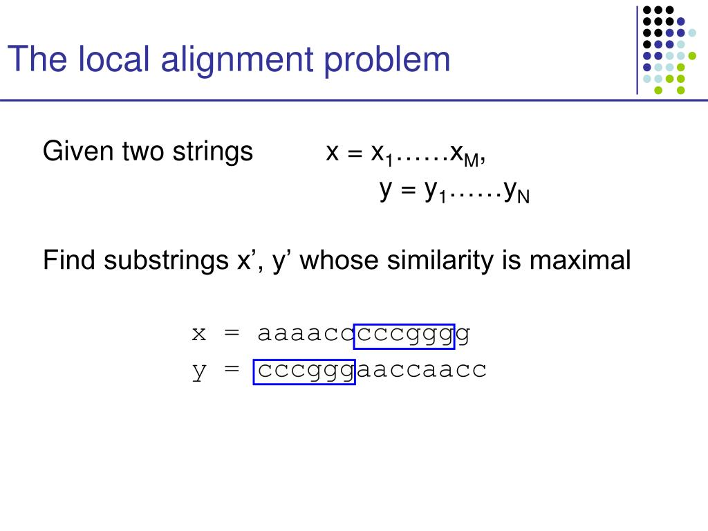 The local alignment problem