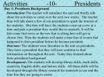 activities 10 presidents