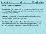 activities 11 presidents