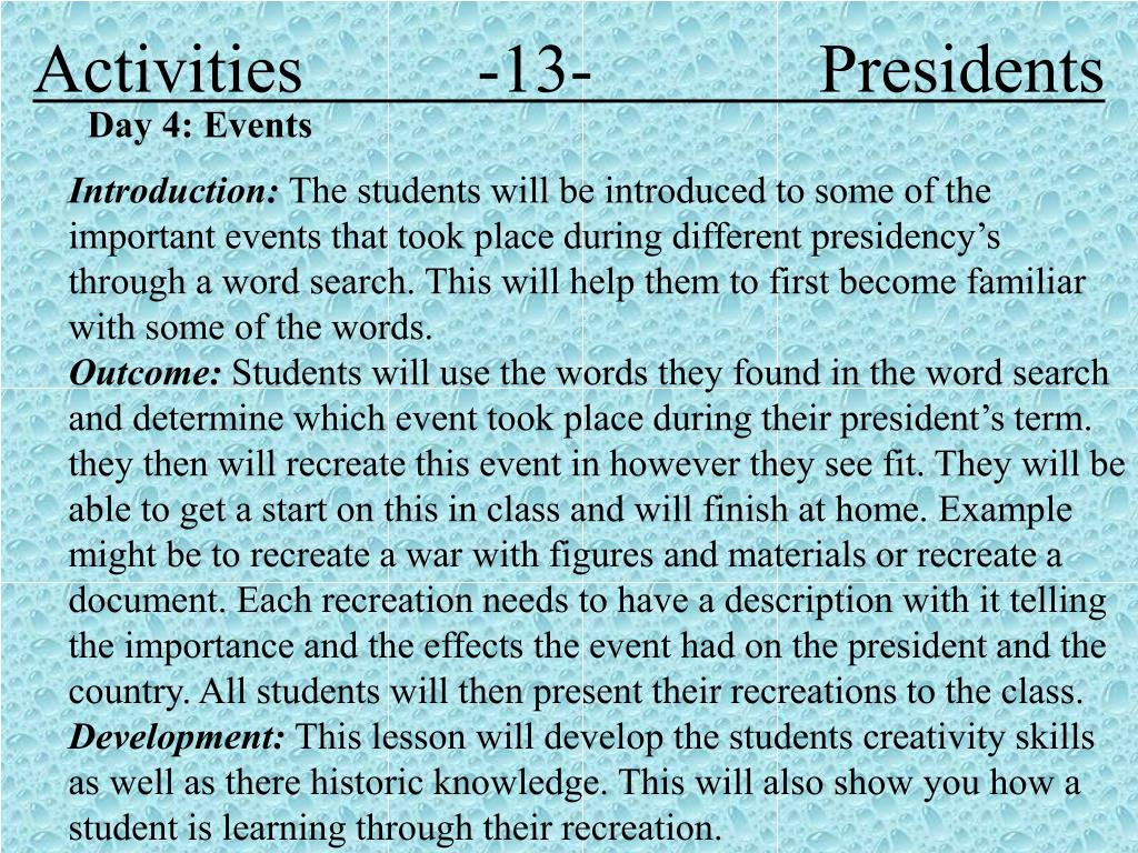 Activities          -13-             Presidents