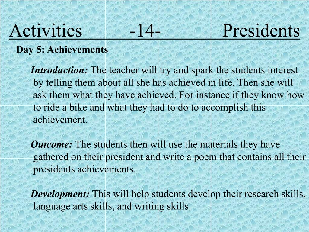 Activities          -14-             Presidents