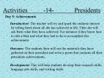 activities 14 presidents