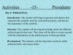 activities 15 presidents