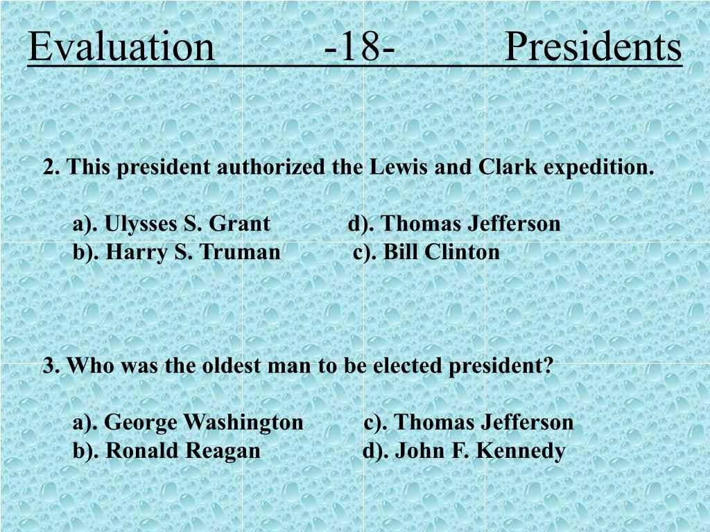 Evaluation          -18-          Presidents