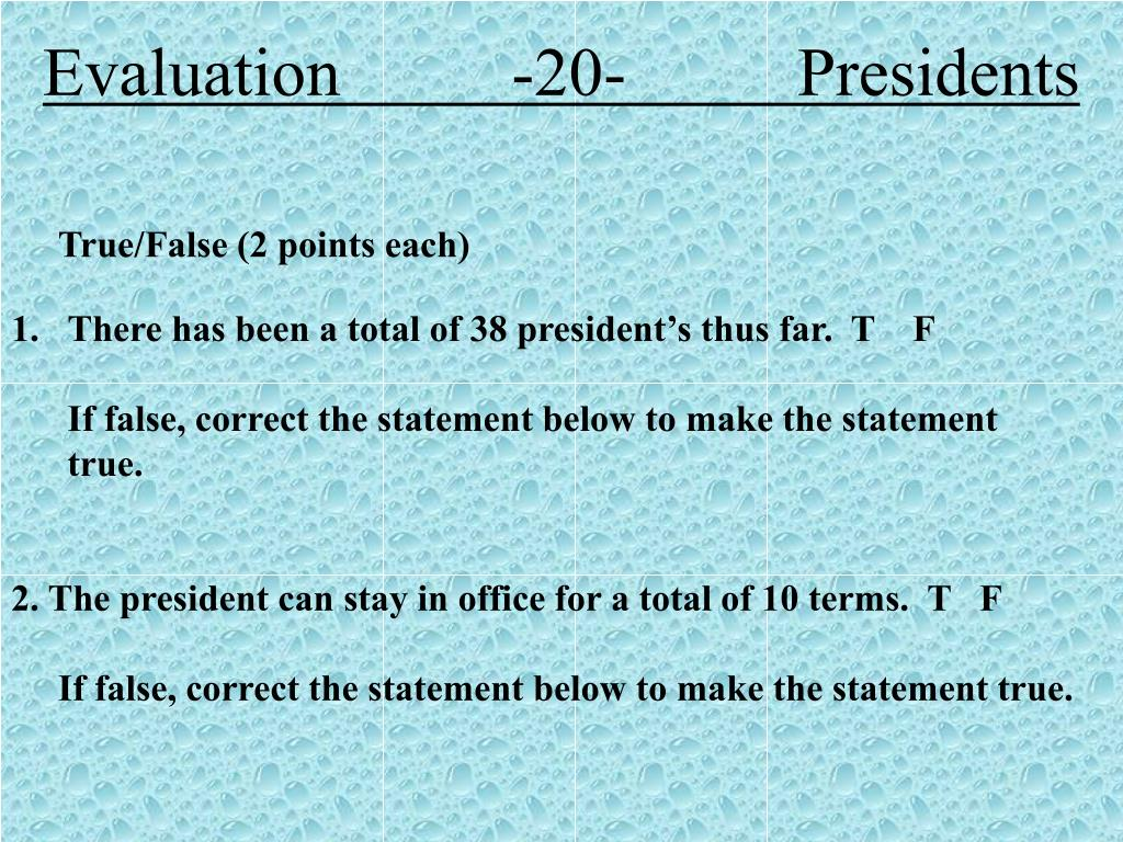 Evaluation          -20-          Presidents