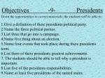 objectives 9 presidents