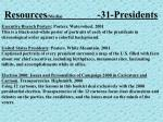resources media 31 presidents