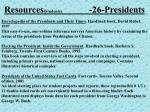 resources students 26 presidents