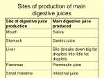 sites of production of main digestive juices