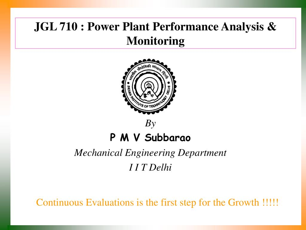 JGL 710 : Power Plant Performance Analysis & Monitoring
