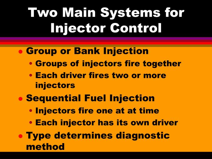 Two main systems for injector control