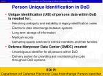person unique identification in dod