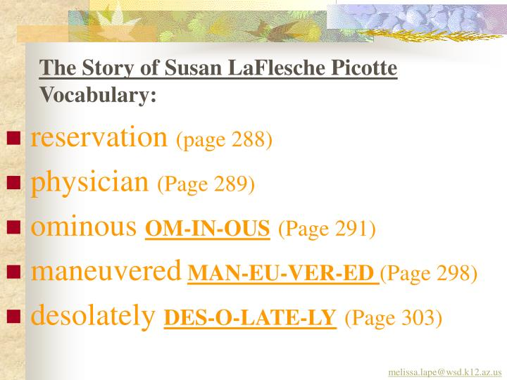 The story of susan laflesche picotte vocabulary