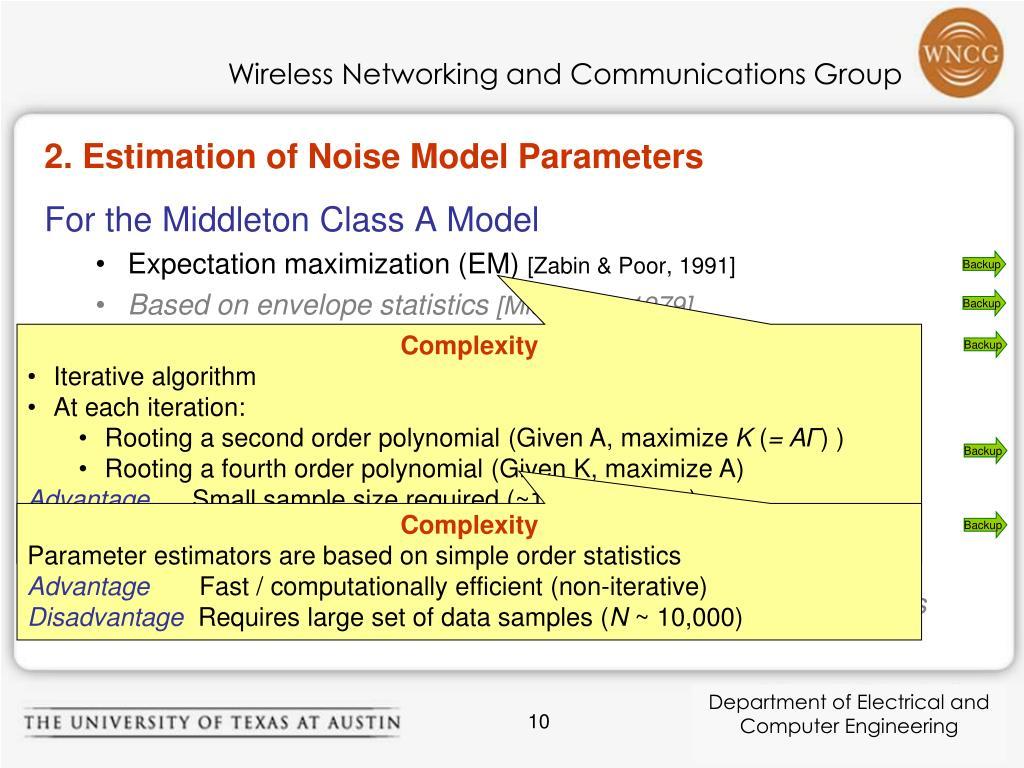 2. Estimation of Noise Model Parameters