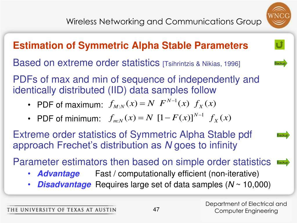 Estimation of Symmetric Alpha Stable Parameters