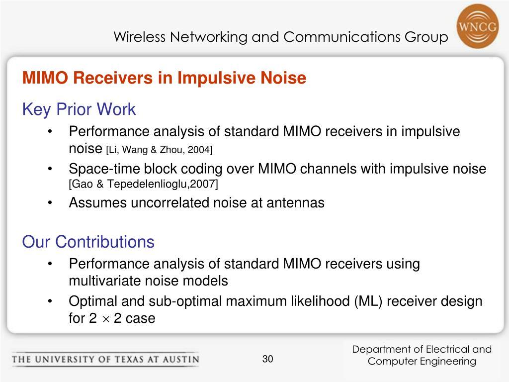 MIMO Receivers in Impulsive Noise