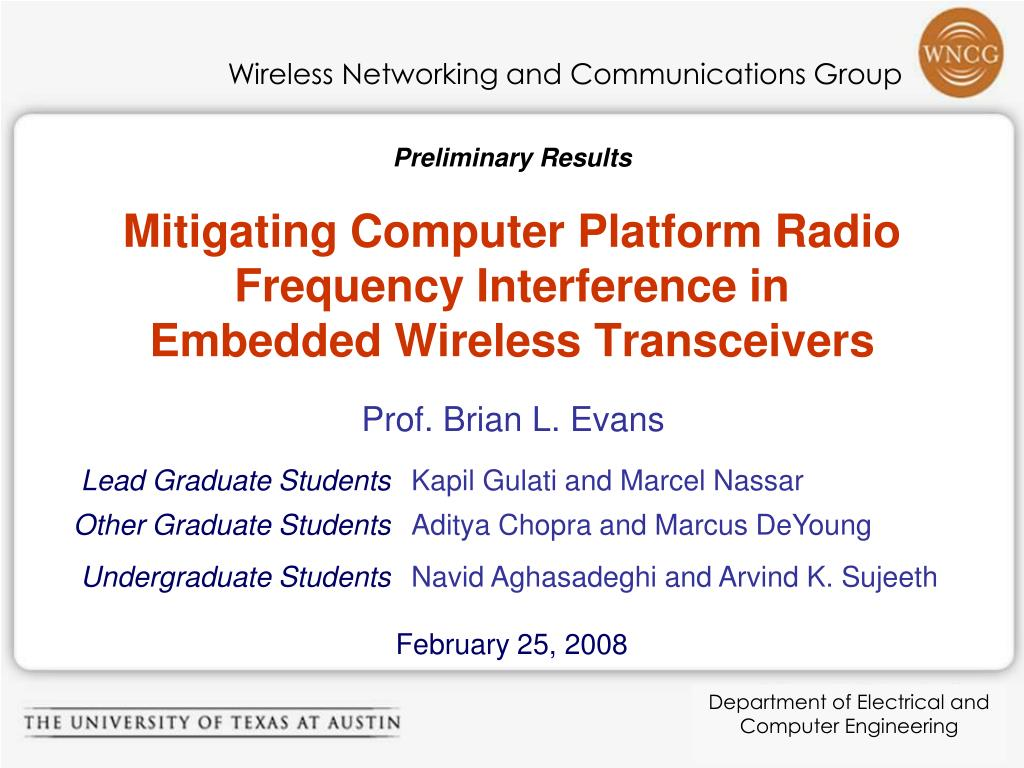 mitigating computer platform radio frequency interference in embedded wireless transceivers l.