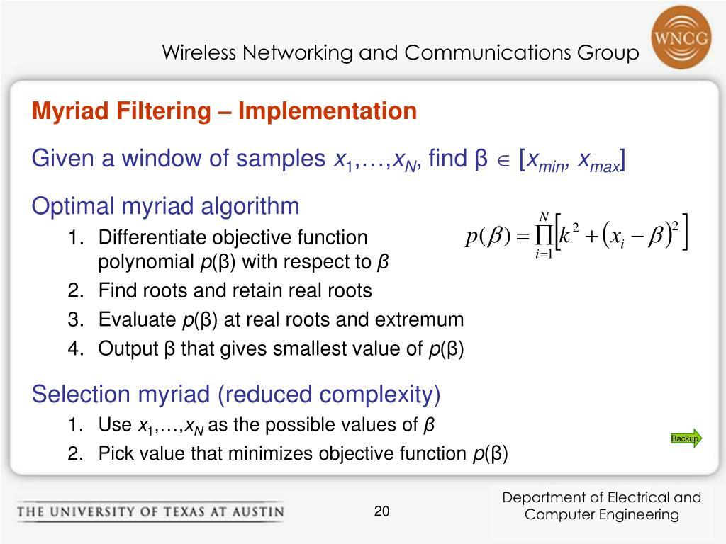 Myriad Filtering – Implementation