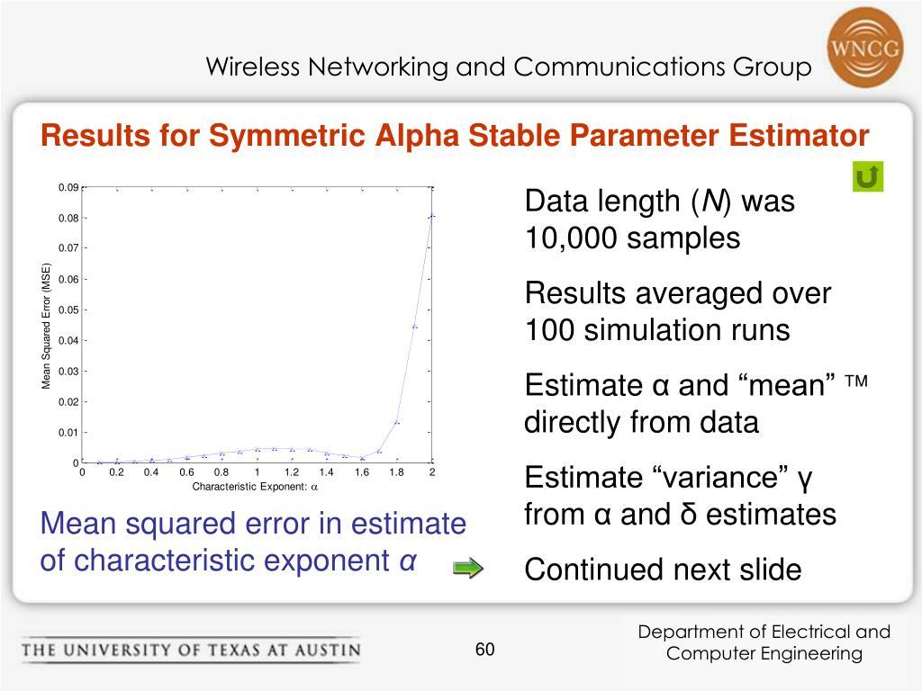 Results for Symmetric Alpha Stable Parameter Estimator