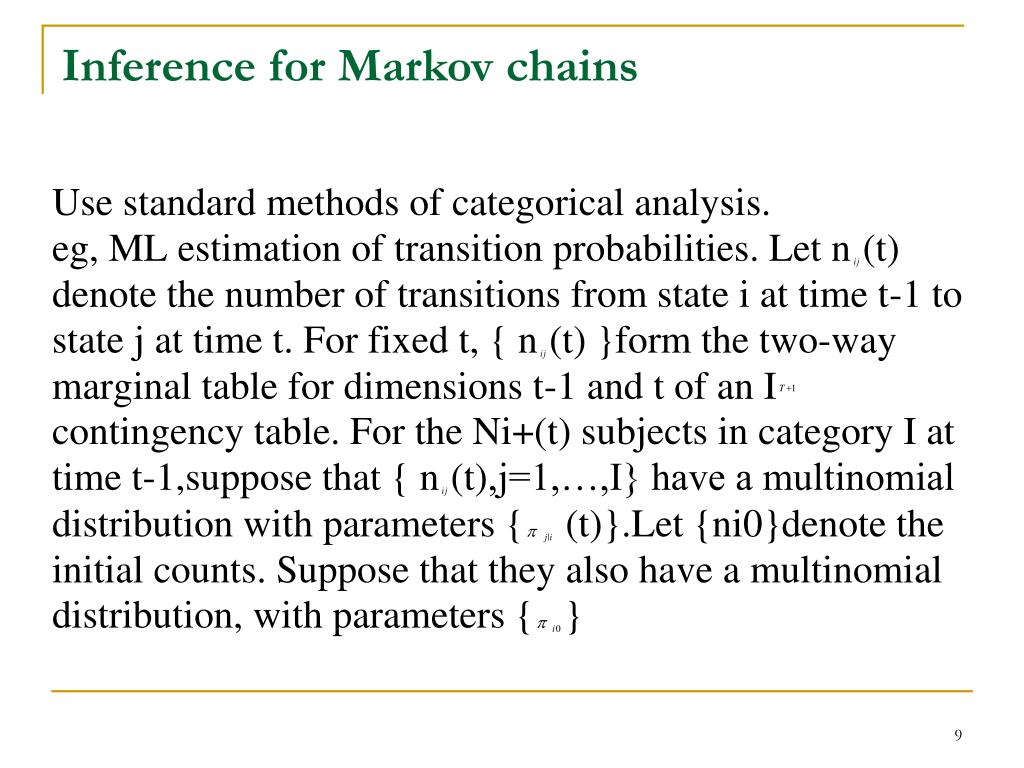 Inference for Markov chains