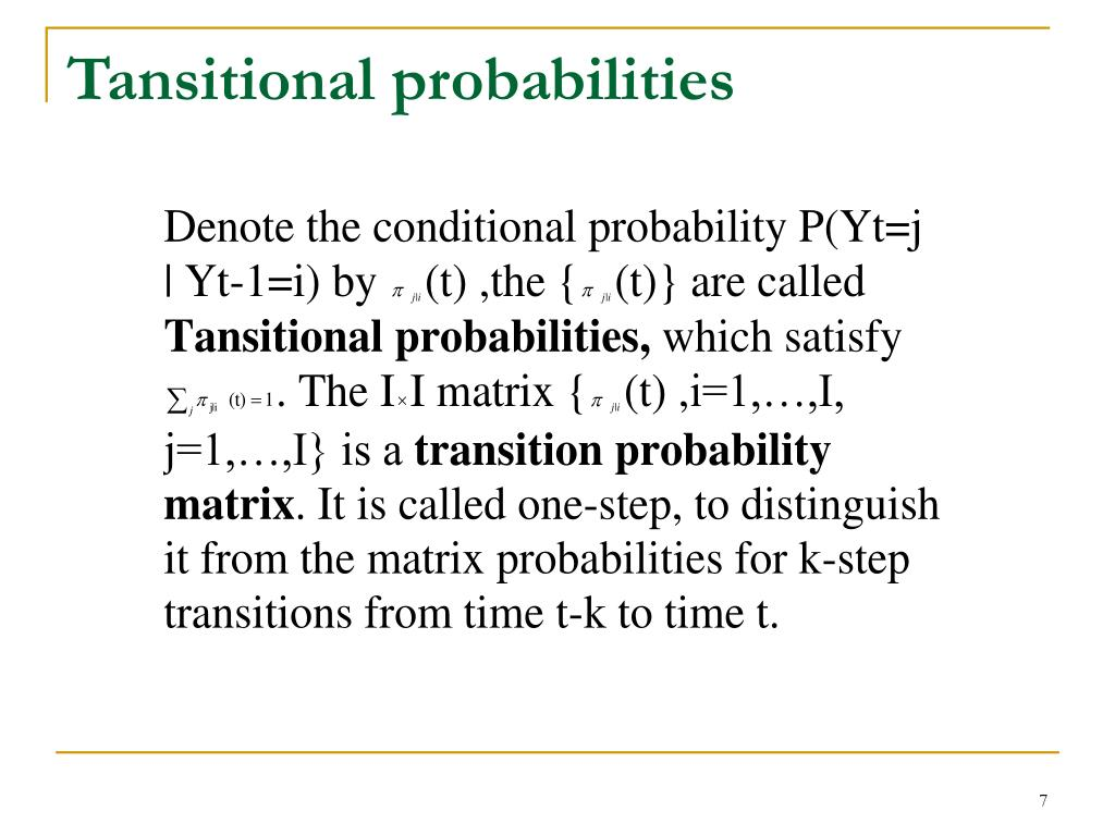 Tansitional probabilities