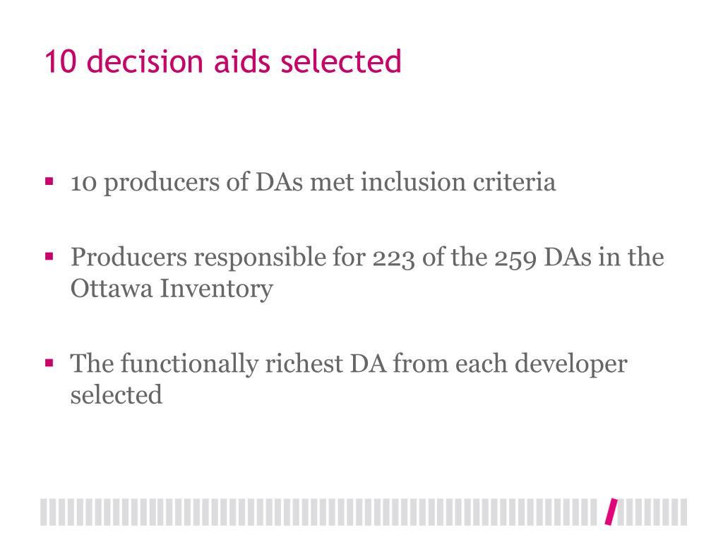 10 decision aids selected