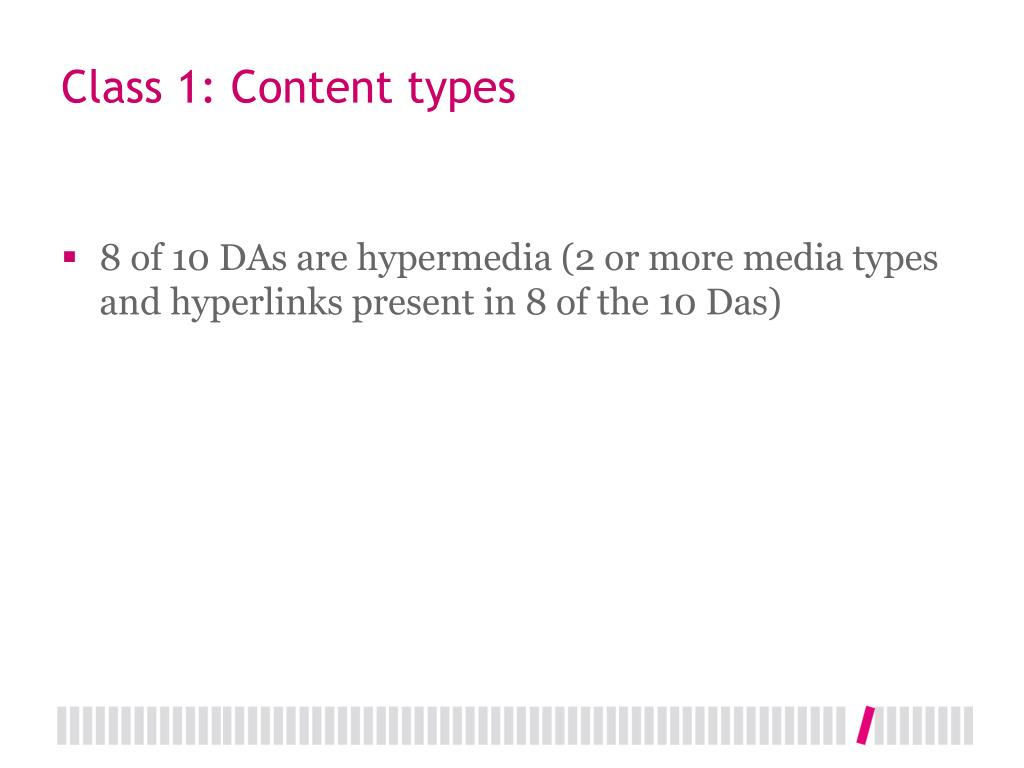 Class 1: Content types