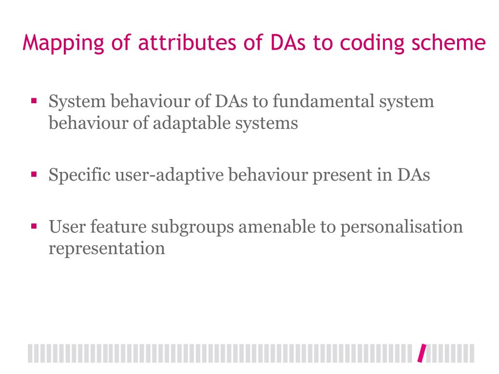 Mapping of attributes of DAs to coding scheme