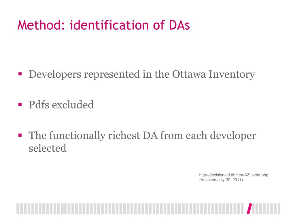 Method: identification of DAs