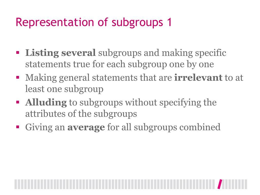 Representation of subgroups 1