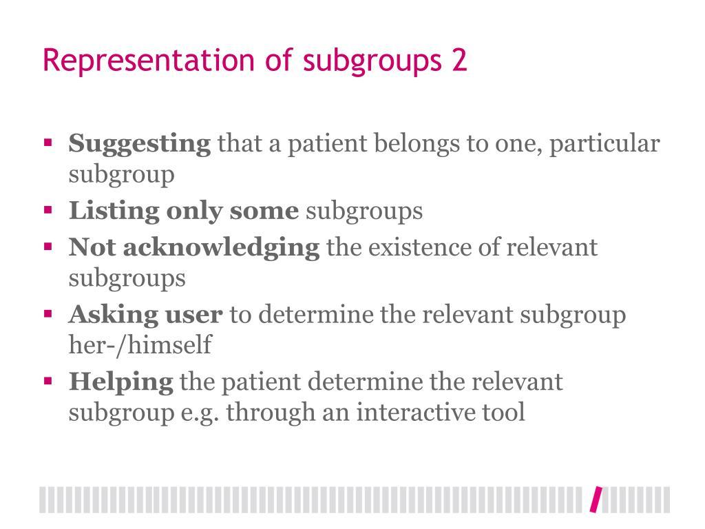 Representation of subgroups 2