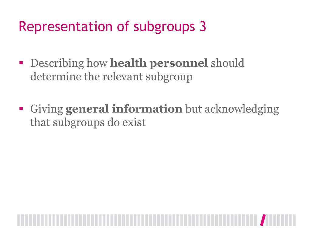 Representation of subgroups 3