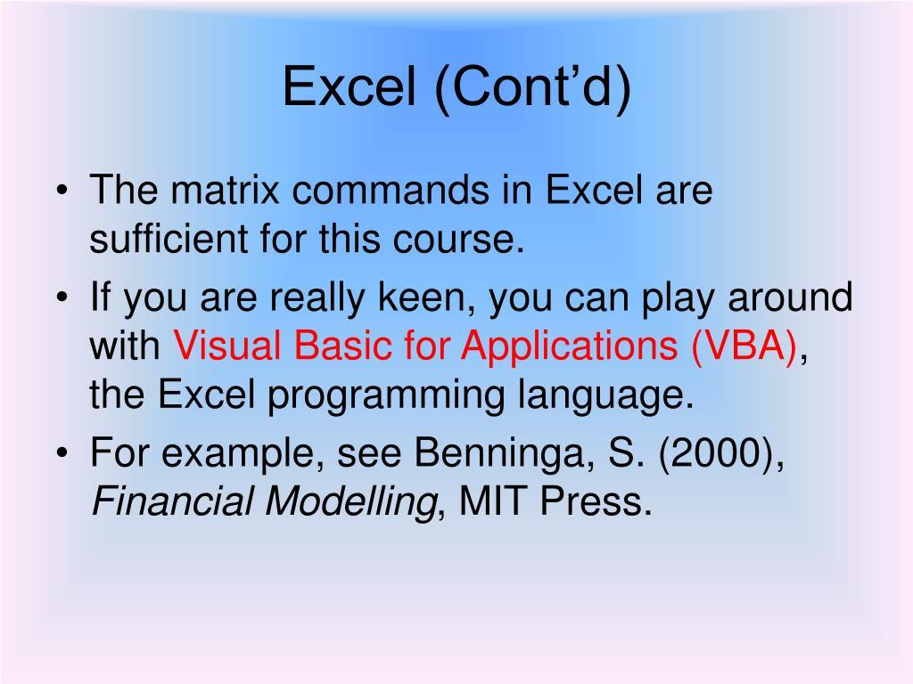Excel (Cont'd)