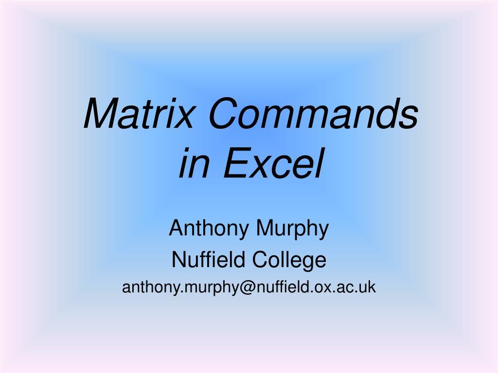 Matrix Commands