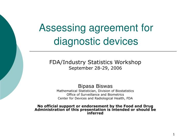 assessing agreement for diagnostic devices n.