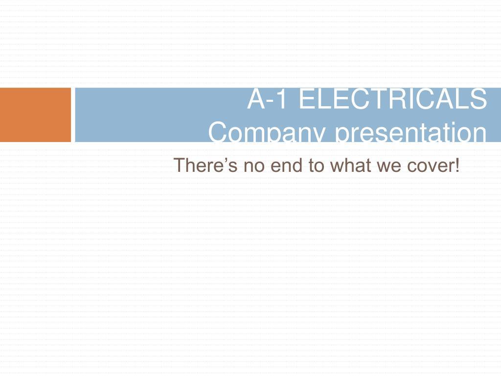 a 1 electricals company presentation l.