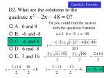 d2 what are the solutions to the quadratic x 2 2x 48 02