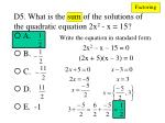 d5 what is the sum of the solutions of the quadratic equation 2x 2 x 151