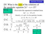 d5 what is the sum of the solutions of the quadratic equation 2x 2 x 152
