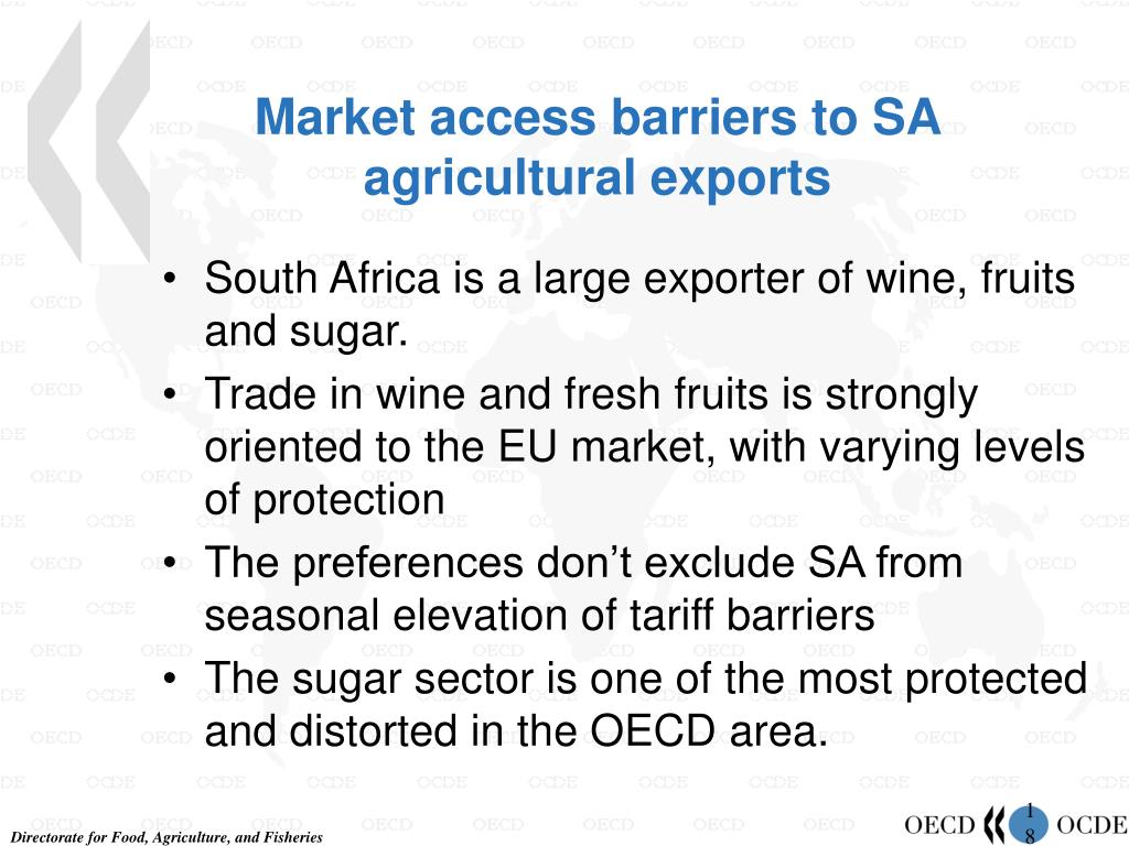 Market access barriers to SA agricultural exports